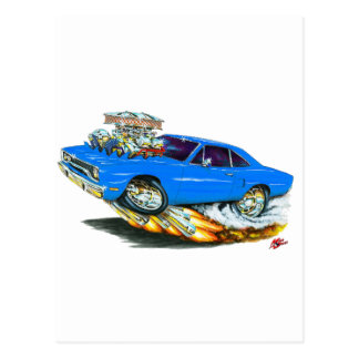 1970 Roadrunner Blue Car Postcard