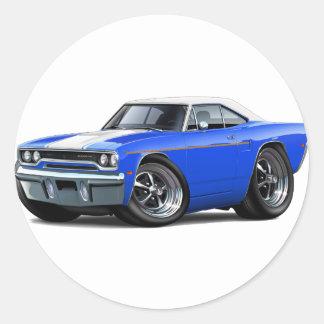 1970 Roadrunner Blue-White Top Round Sticker