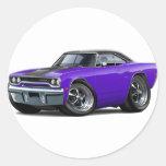 1970 Roadrunner Purple-Black Top Round Sticker