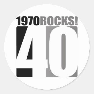 ¡1970 rocas! etiquetas redondas