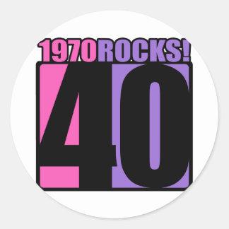 ¡1970 rocas! pegatina redonda