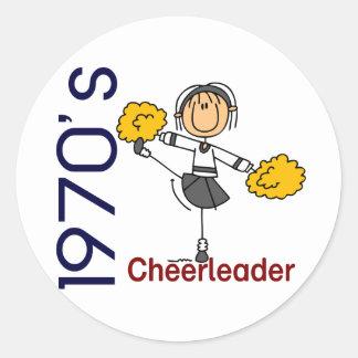 1970's Cheerleader Stick Figure Sticker