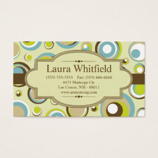 1970's Retro Circle Pattern Print Business Card