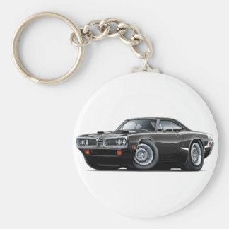1970 Super Bee Black-White C-Stripe Scoop Hood Basic Round Button Keychain