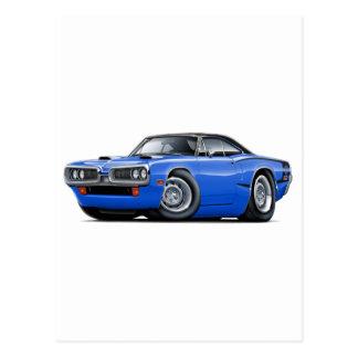 1970 Super Bee Blue-Black Top C-Stripe Scoop Hood Postcard