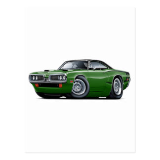 1970 Super Bee Green-Black Top C-Stripe Scoop Hood Postcard