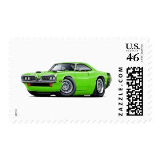 1970 Super Bee Lime-Black Scoop Hood Postage Stamps