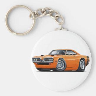1970 Super Bee Orange-Black Scoop Hood Basic Round Button Keychain