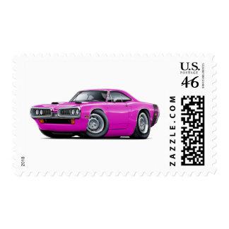 1970 Super Bee Pink-Black Scoop Hood Postage Stamps