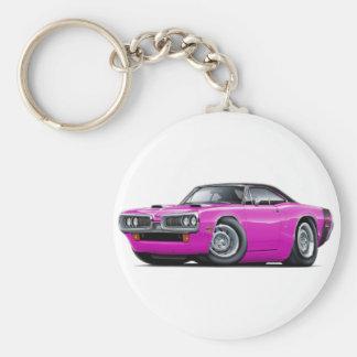 1970 Super Bee Pink-Black Top Scoop Hood Basic Round Button Keychain