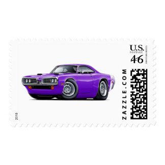 1970 Super Bee Purple-White Scoop Hood Postage Stamp