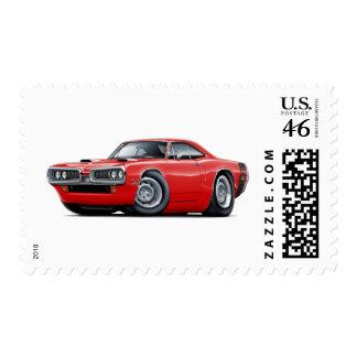 1970 Super Bee Red-Black Scoop Hood Postage Stamp