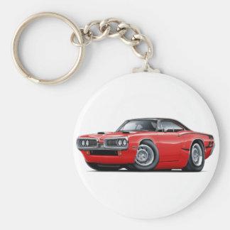 1970 Super Bee Red-Black Top C-Stripe Scoop Hood Basic Round Button Keychain