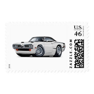 1970 Super Bee White-Black Top C-Stripe Scoop Hood Postage Stamps