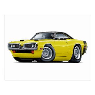 1970 Super Bee Yellow-Black Top Scoop Hood Postcard