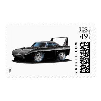 1970 Superbird Black Car Postage Stamp