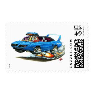 1970 Superbird Blue Car Stamps