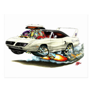 1970 Superbird White Car Post Card