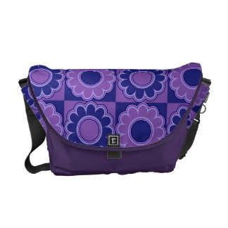 1970s flower power blue and violet retro courier bags