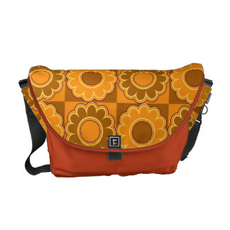 1970s flower power brown and orange retro messenger bag