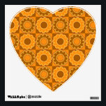 """1970s flower power brown and orange retro wall decal<br><div class=""""desc"""">Retro vintage flower power tiles,  straight from the late Sixties and early Seventies,  in orange and brown.</div>"""