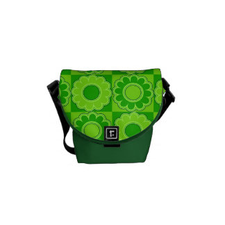 1970s flower power green retro courier bags