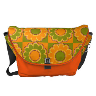 1970s flower power orange and olive green retro messenger bags