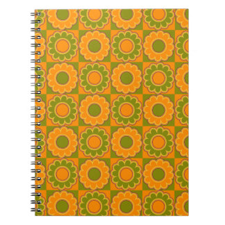 1970s flower power orange and olive green retro spiral note book