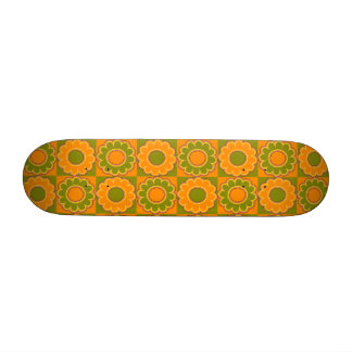 1970s flower power orange and olive green retro custom skateboard