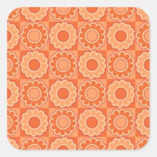 1970s flower power pink and orange retro square sticker