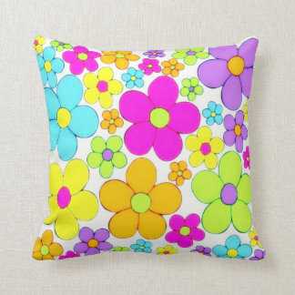 1970's Flower Style Throw Pillow