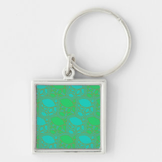 1970s green, opal design leaves or lemons sleeve Silver-Colored square keychain