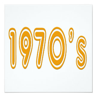 1970's in seventies style font 5.25x5.25 square paper invitation card