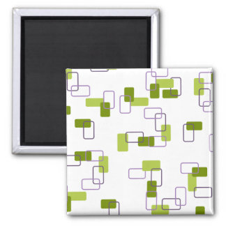 1970's Inspired Retro Geometric Lime Pattern Magnet