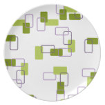 1970's Inspired Retro Geometric Lime Pattern Party Plate