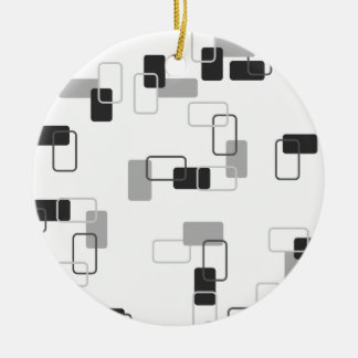 1970's Inspired Retro Geometric Monochrome Pattern Double-Sided Ceramic Round Christmas Ornament