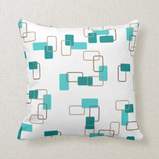 1970's Inspired Retro Geometric Teal Pattern Throw Pillow