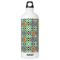 1970s Moroccan Color Pattern Aluminum Water Bottle