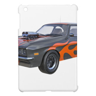 1970's Muscle Car with Orange Flame and Black Cover For The iPad Mini