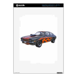 1970's Muscle Car with Orange Flame and Black iPad 3 Skin