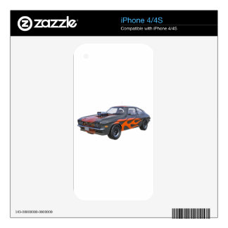 1970's Muscle Car with Orange Flame and Black Skin For iPhone 4