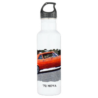 1970s Orange Nova Digital Art Water Bottle