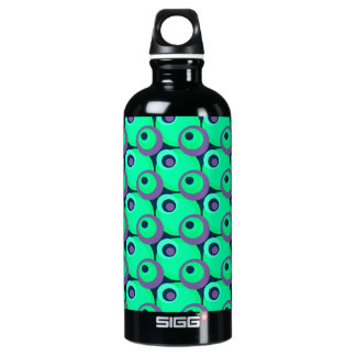 1970s overlapping disco circles green and violet aluminum water bottle