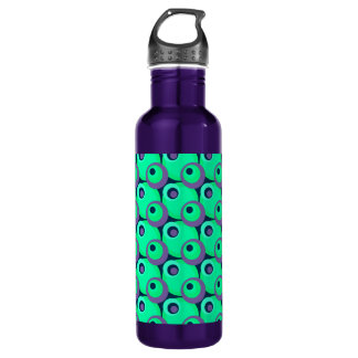 1970s overlapping disco circles green and violet stainless steel water bottle