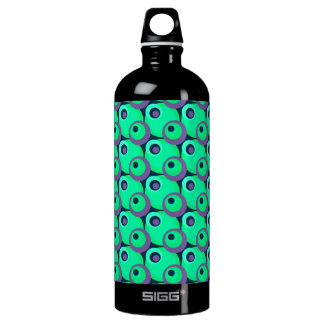 1970s overlapping disco circles green and violet water bottle