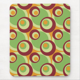 1970s overlapping disco circles green orange mouse pad