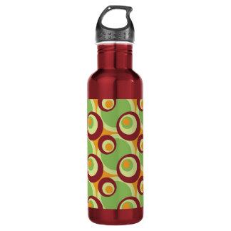 1970s overlapping disco circles green orange water bottle