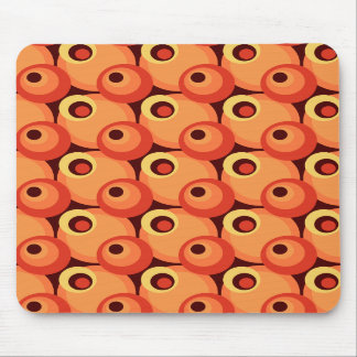 1970s overlapping disco circles orange and maroon mouse pads