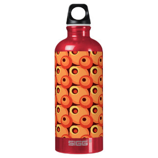 1970s overlapping disco circles orange and maroon water bottle