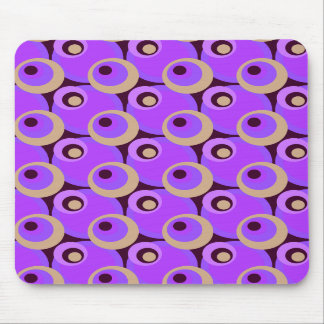 1970s overlapping disco circles purple and cerise mouse pads